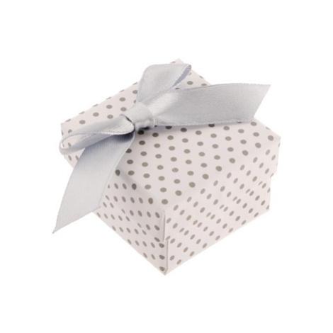 Darčeková krabička na prsteň alebo náušnice, biely povrch, sivé bodky a mašľa