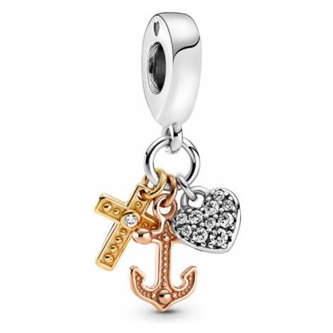 Pandora Tricolor strieborný prívesok Kríž, kotva, srdce 799354C01