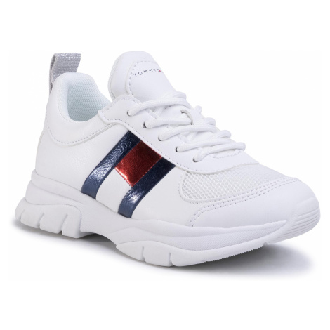 Sneakersy TOMMY HILFIGER - Low Cut Lace-Up Sneaker T3A4-30633-0968 M White 100