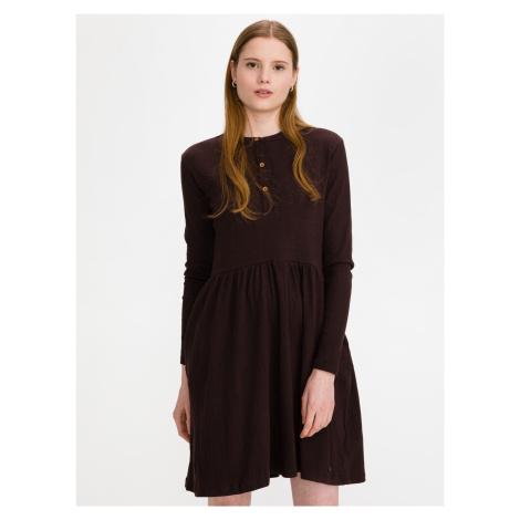 Jersey Mini Šaty SuperDry Hnedá