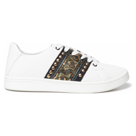 Desigual biele tenisky Shoes Cosmic Exotic Gold