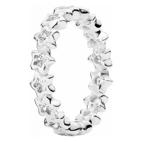 Pandora Strieborný hviezdičkový prsteň s kamienkami 190974CZ mm