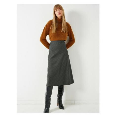 Koton Women's Gray Plaid Midi Skirt