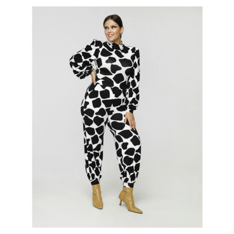 Madnezz Woman's Trousers Wanda Mad587 Black/White