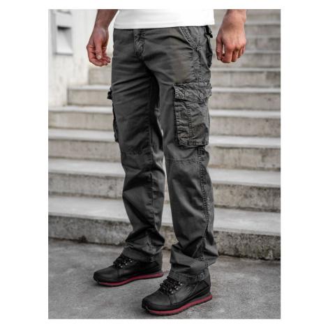 Grafitové pánske kapsáčové nohavice s opaskom Bolf CT8906