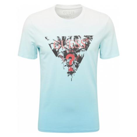 GUESS Tričko 'Palm Beach'  biela / svetlomodrá / čierna / ohnivo červená