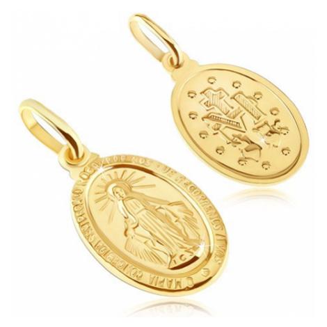 Zlatý prívesok 585 - oválna známka so symbolmi Panny Márie