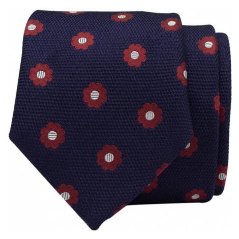 John & Paul Tmavo modrá hodvábna kravata s červenými kvetmi John & Paul