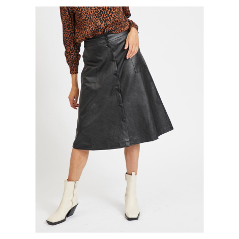Čierna koženková midi sukňa VILA