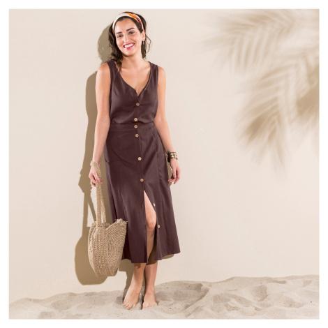 Blancheporte Jednofarebná sukňa s gombíkmi čokoládová