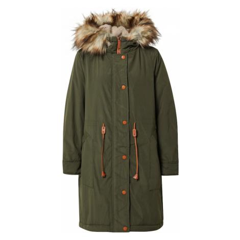 VILA Zimný kabát 'Flavia'  tmavozelená / béžová