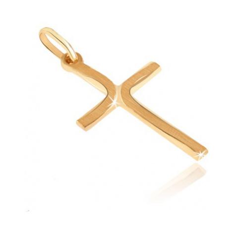 Zlatý prívesok 585 - krížik s dlhými matnými oblúkmi na cípoch