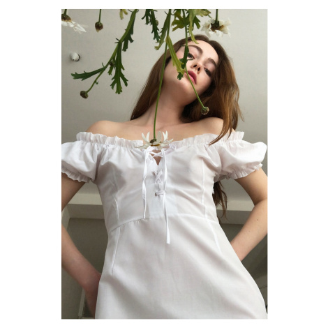Trendyol Poplin Dress WITH White Binding Detail