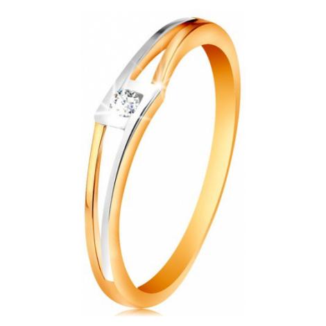 Prsteň zo 14K zlata - okrúhly číry zirkón v kosoštvorci, dvojfarebné rozdelené ramená - Veľkosť: