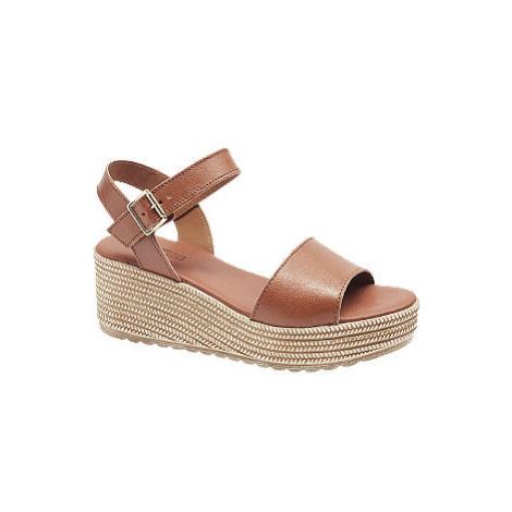 Hnedé kožené sandále na platforme 5th Avenue