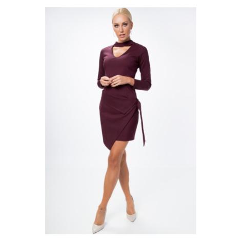 Asymetrické, zavinovacie šaty s chorekom a dlhým rukávom, slivkové FASARDI