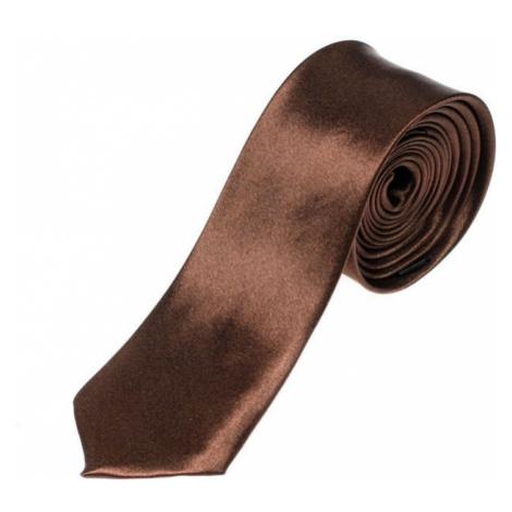 Hnedá pánska elegantná kravata BOLF K001