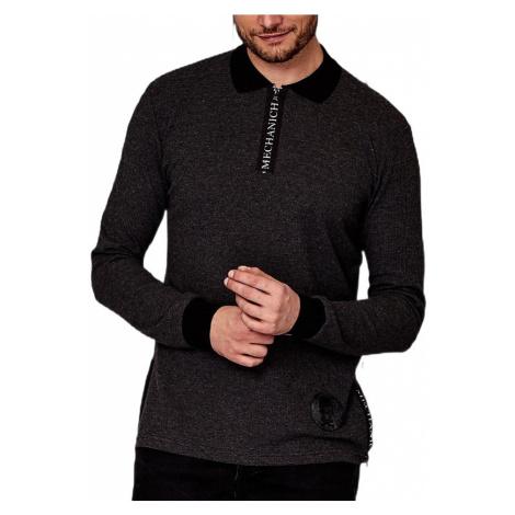 Tmavo sivé tričko s golierom MECHANICH