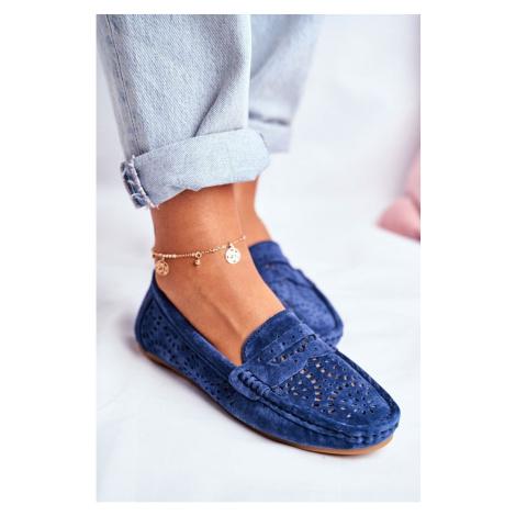 Suede Openwork Women's Loafers S.Barski Navy Blue