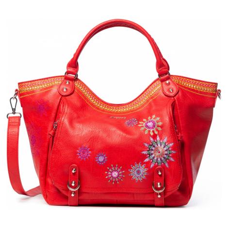 Desigual červená kabelka Bols Ada Rotterdam s výšivkami