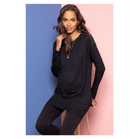 Čierna tehotenská predĺžená tunika Ariella