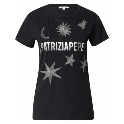 PATRIZIA PEPE Tričko 'MAGLIA'  čierna / strieborná