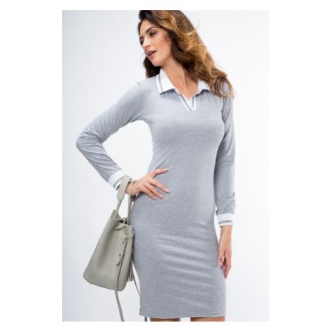 Bavlnené šaty s dlhým rukávom a stojačikom s V výstrihom, sivé FASARDI