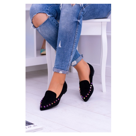 Lu Boo Black Loafers of Iridescent Spikes Suede Spike