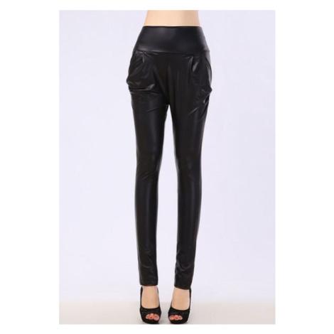 Dámske nohavice - kožený LOOK čierne