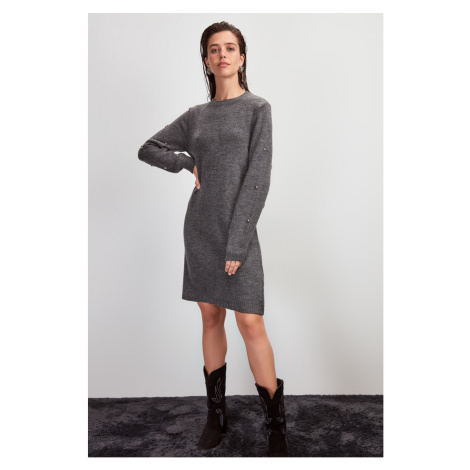 Trendyol Anthracite Accessory Detailed Knitwear Dress Anthracite