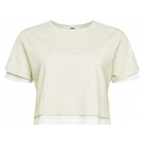 Urban Classics Tričko  biela / sivá melírovaná