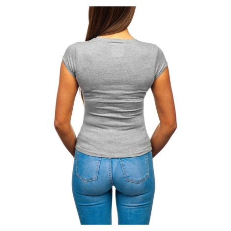 Fashionable women's T-shirt with a V-shaped neckline - dark gray, DStreet