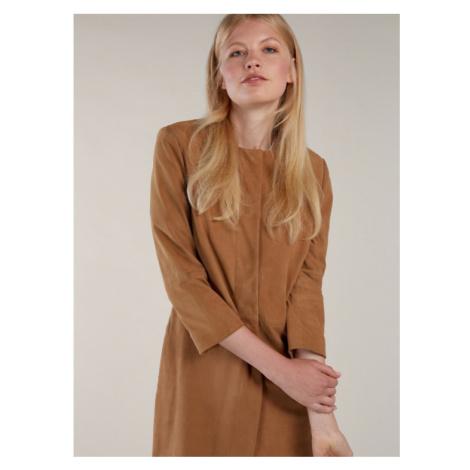 Béžový semišový kabát KARA