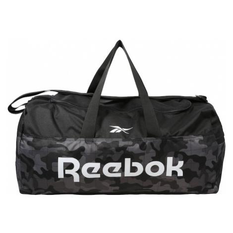 REEBOK Športová taška  sivá melírovaná / biela / čierna melírovaná / antracitová