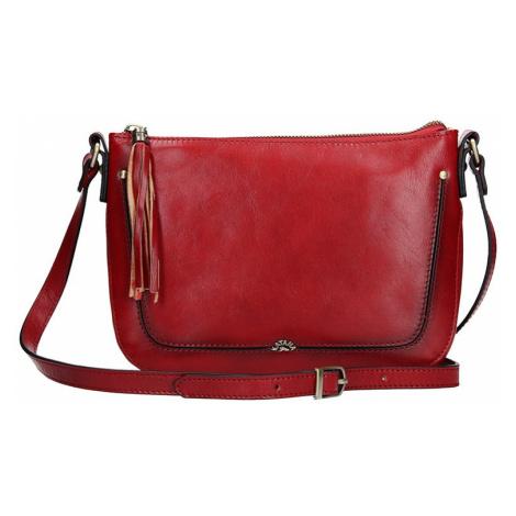 Kožená dámska crosbody kabelka Katana Rena - tmavo červená
