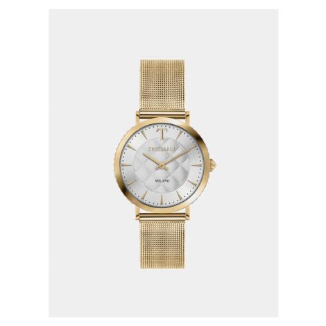 Dámske hodinky s oceľovým remienkom v zlatej farbe s kryštáľmi Trussardi