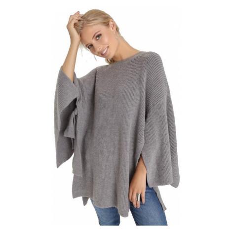 Originálny voľný šedý sveter Little Mistress