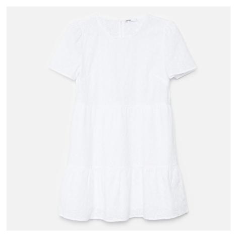 Cropp - Šaty s dierkovaným vzorom - Biela