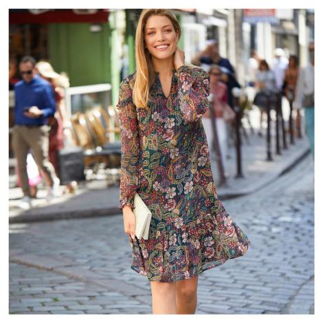 Blancheporte Šaty s lesklou potlačou tmavozelená/bordó