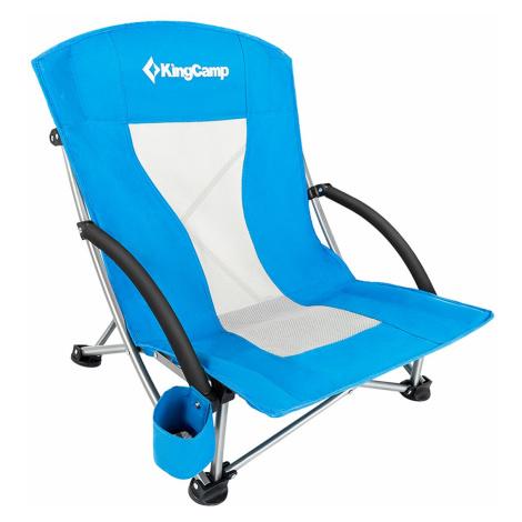 Kempingová skladacia stolička KING CAMP Deluxe s opierkami oceľ - modrá