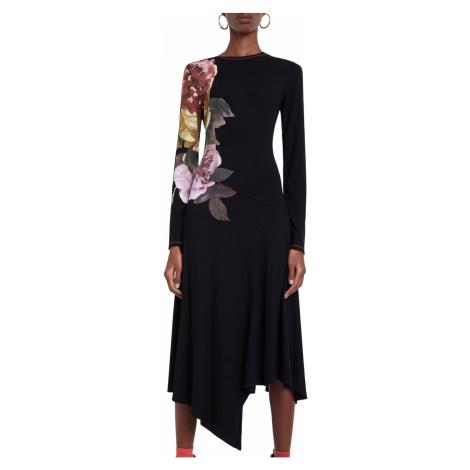 Desigual čierne šaty Vest Rose s farebnou potlačou