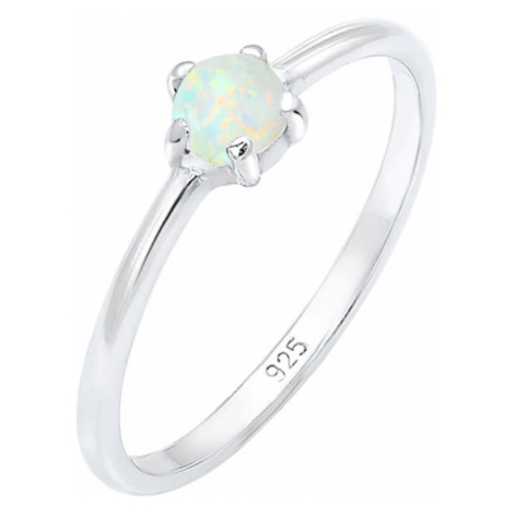 ELLI Prsteň 'Opal'  perlovo biela / strieborná