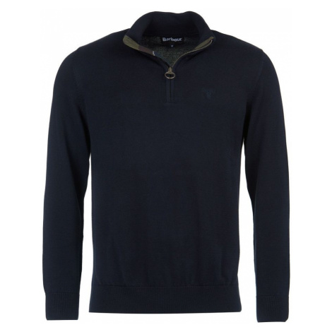 Barbour Ľahký zapínací sveter Barbour Cotton Half Zip - navy