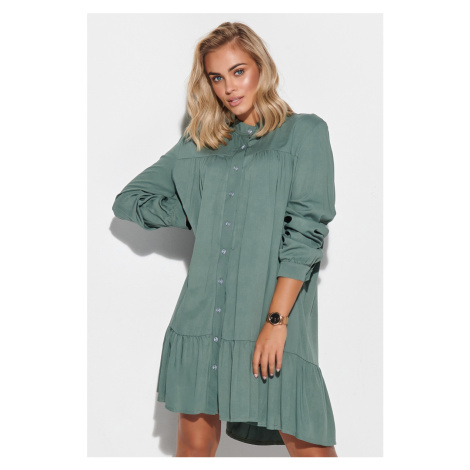 Zelené košeľové šaty s dlhým rukávom M576 Makadamia