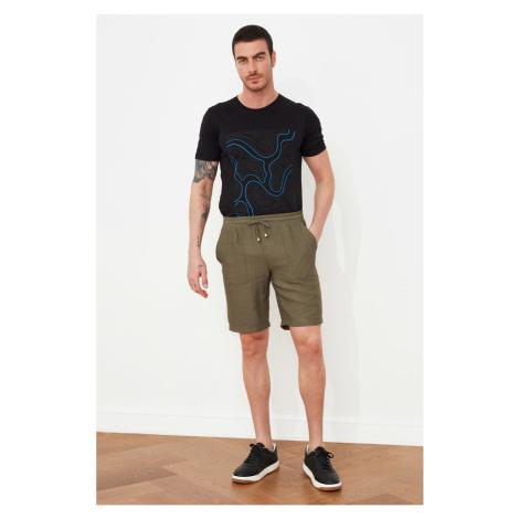 Trendyol Khaki Men's Loose Cut Linen Shorts & amp; Bermuda