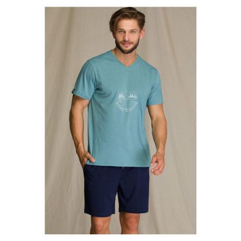 Pánske pyžamo Key Blue Mountain Modrá