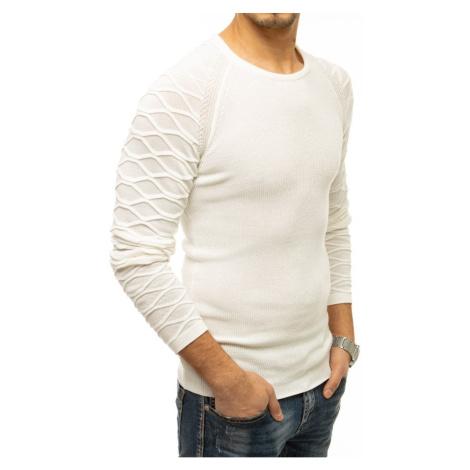 Men's sweater slipped over the head ecru WX1647 DStreet