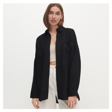 Reserved - Menčestrová oversize košeľa - Čierna