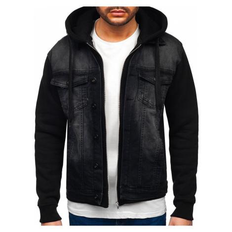Čierna pánska riflová bunda s kapucňou Bolf 10350