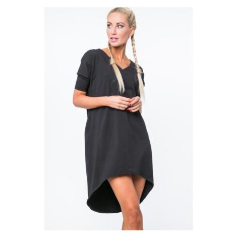 Dámske letné šaty s výstrihom v tvare písmena V, čierne FASARDI